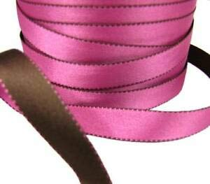 Sale !! -5 Yds Pink Brown Side Stitch Reversible Double Faced Satin Ribbon 5/8