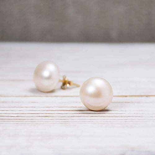 14K Gold White Pearl Stud Earrings - 14K Solid Yellow Gold Posts, 10mm Cultured Pearls Studs, Bridal Wedding Jewel, Jewelry for Brides, Dainty Minimalist Handmade Gift for Classy Women