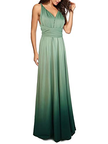 PERSUN PERSUN Multi Way Strap Wrap Convertible Maxi Dresses for Women Party Wedding (Medium, Gradient Green) ()