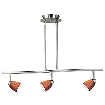 Cal Lighting SL-954-3-BS/LAS Track Lighting with Layer Amber Scale Glass Shades, Brushed Steel Finish