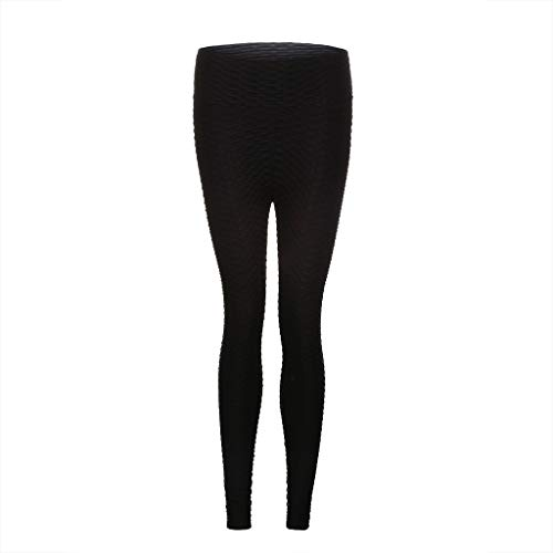 - TOPBIGGER Women's High Waist Textured Yoga Pants with Pockets Black