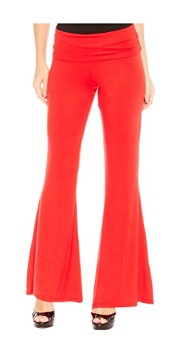 [Red Hanger Women's High Waist Palazzo Bell Bottom Pants Regular and Plus Sizes, Red-1X] (70s Workout Clothes)