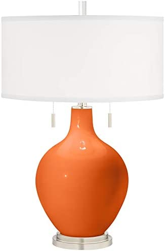Toby Modern Table Lamp Invigorate Orange Glass Gourd White Drum Shade for Living Room Family Bedroom Bedside Nightstand - Color + Plus