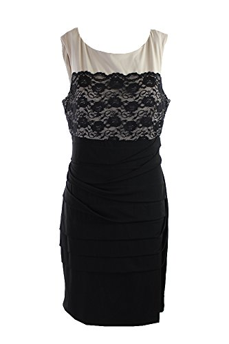 Overlay Connected Womens Ivory Dress Apparel Shutter Pleat Lace Black Cocktail Uvv4Bqxw