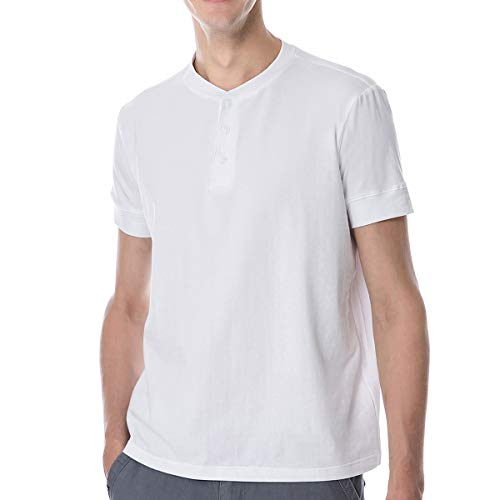 White T Shirts for Men Mens Cotton Casual V Open Neck t-shirt Slim Fit Fashion Summer Henley Tees Big and Tall Fitted Short Sleeve Athletic Work Workout 3 Buttons Muscle - Henley Sport