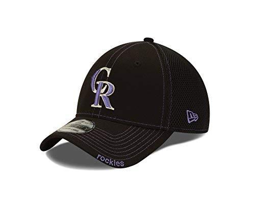 MLB Colorado Rockies Neo Fitted Baseball Cap, Black, Medium/Large