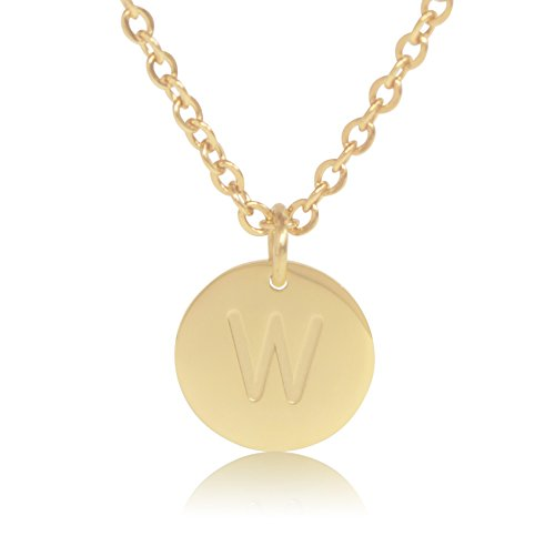 - 18K Gold-Plated Round Disc Engraved Initial Pendant 18