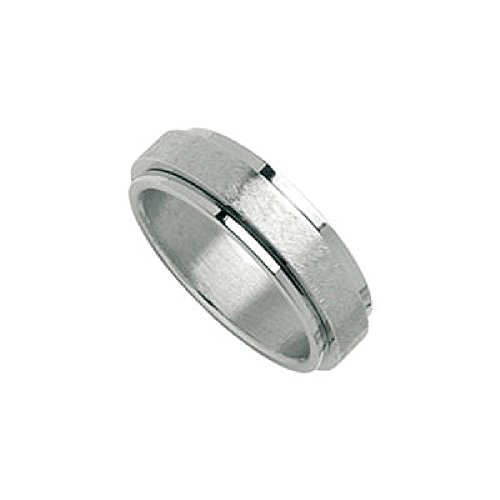 So Chic Jewels - Stainless Steel Satin Effect Anti-Stress Rotating Band Ring - Customisable: Your Message Engraved Free - Size 10
