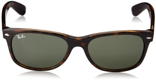 Ray-Ban RB2132 New Wayfarer Non Polarized Sunglasses,Tortoise, Green, 55 mm