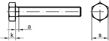 Stahl verzinkt 25 Stk DIN 961 Sechskantschraube M10x1x30 Feingewinde ann/ähernd bis Kopf