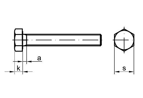 Stahl 10 Stk DIN 961 Sechskantschraube M12x1,25x60 Feingewinde ann/ähernd bis Kopf