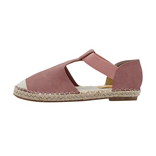 Aniywn Women's Flat Shoes,Casual Vintage Espadrilles Sandals Round Toe Soft Low Heel Shoes Pink