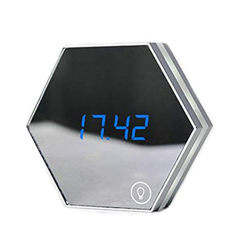 YYDEO Mirror Thermometer Touch Sensing Table Lamp Multi-Function Digital Alarm Clock Night Light Temperature Display Travel