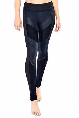 Electric Yoga Moto Coated Leggings High Waist Mesh Compression Pants - MSRP $98 Black from ELECTRIC YOGA MICHELE BOHBOT