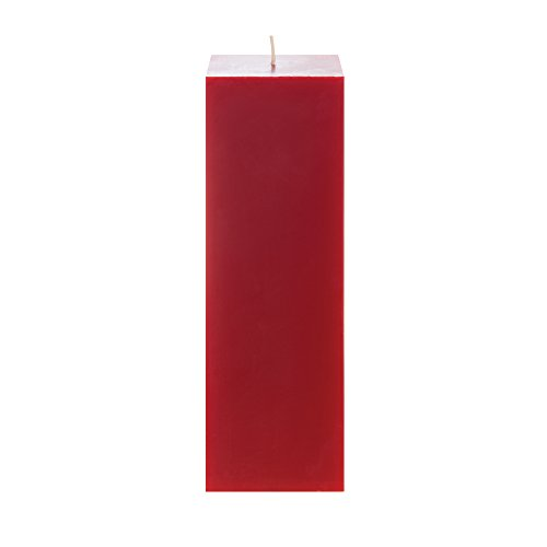 Mega Candles Unscented Red Square Pillar Candle | Hand Poure