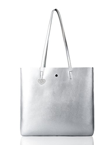 The Lovely Tote Co. Women's Metallic Top Handle Tote Shoulder Bag (Silver)