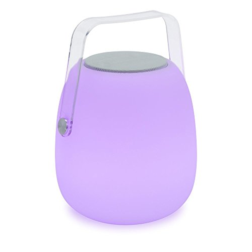 Mooni Opal Speaker Lantern - Indoor/Outdoor Wireless Bluetooth Speaker and 7 Color LED Lantern with 5 Light Modes (31975) (Light Opal Five)