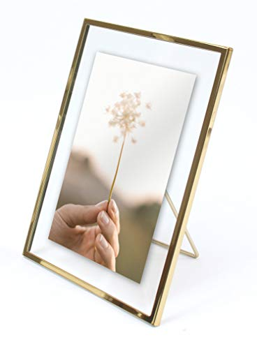 MIMOSA MOMENTS Gold Metal Floating Pressed Glass Picture Frame with Metal Easel, Photo Display for Desk (Gold, 4x6)