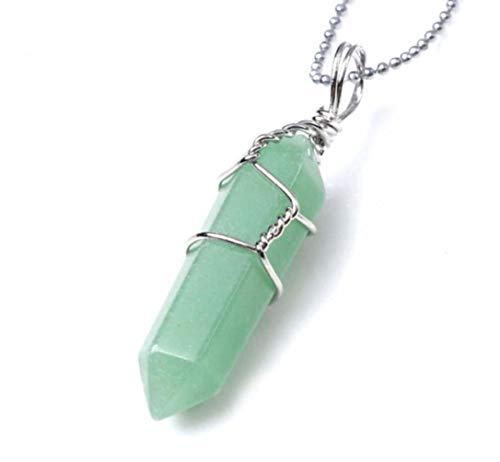 Top Quality Natural Green Aventurine Healing Point Reiki Chakra Cut 18-20 Inch Gemstone Pendant Necklace (1pc) in Gift Bag #GGP-E8