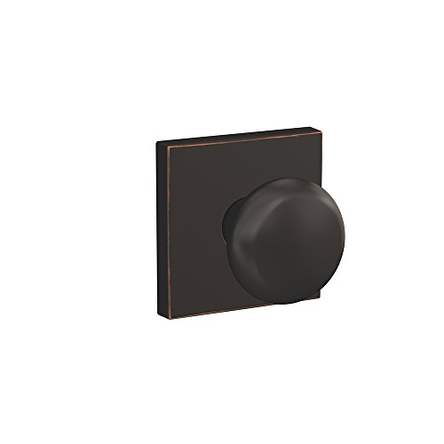 Schlage Custom FC21 PLY 716 COL Plymouth Knob with Collins Trim Hall-Closet and Bed-Bath Lock, Aged Bronze (Plymouth Bed)