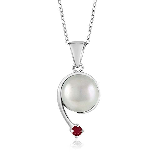 Gem Stone King Round Red Ruby Cultured Freshwater Pearl 925 Sterling Silver Shooting Star Pendant