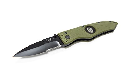- Hoffner Tactical Liner Lock Folding Knife - 3.5 Inch Half-Serrated Blade, G10 Grip and Reversable Pocket Clip. One Hand Opening