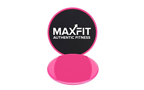 Large Premium Core Sliders (Φ8'') & Resistance Bands; Sliders with Dual Sided Use on Carpet or Hardwood Floors, 12-inch Workout Bands for Home Fitness, Stretching, Physical Therapy... (By MAXFIT) by Maxfit Authentic Fitness
