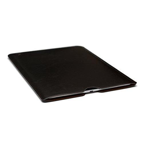 Dockem Executive Sleeve for iPad Pro 12.9 (2015 & 2017): Premium Dark Brown Synthetic/Vegan Leather Lined with Soft Microfiber Felt: Slim, Simple, Slip-on Tablet Case