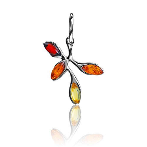 Gopher Jewelry Pendant (Multicolor Amber Sterling Silver Small Branch Dangling Pendant)