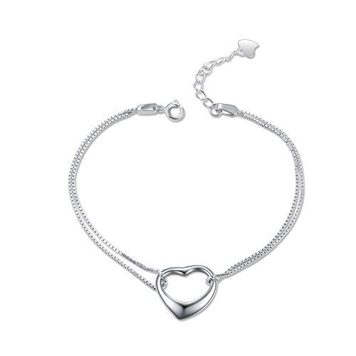 YFN Heart Love Ankle Bracelets Sterling Silver Two Layer Chain Bracelet 6.5