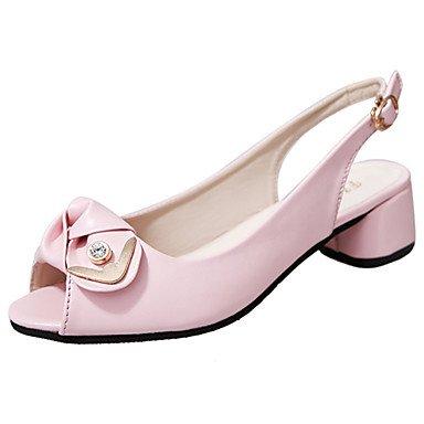 YFF Sandales femmes talon bloc polyuréthane confort,Boucle rouge rose,US6