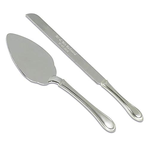 REGENT gifts Personalised Diamonte Silver Plated Wedding Cake Knife and Slice Serving Set (Silver Knife Plated)