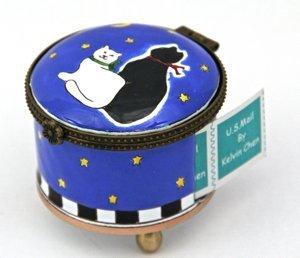 - Kelvin Chen Enameled Postage Stamp Holder - B&W Cats