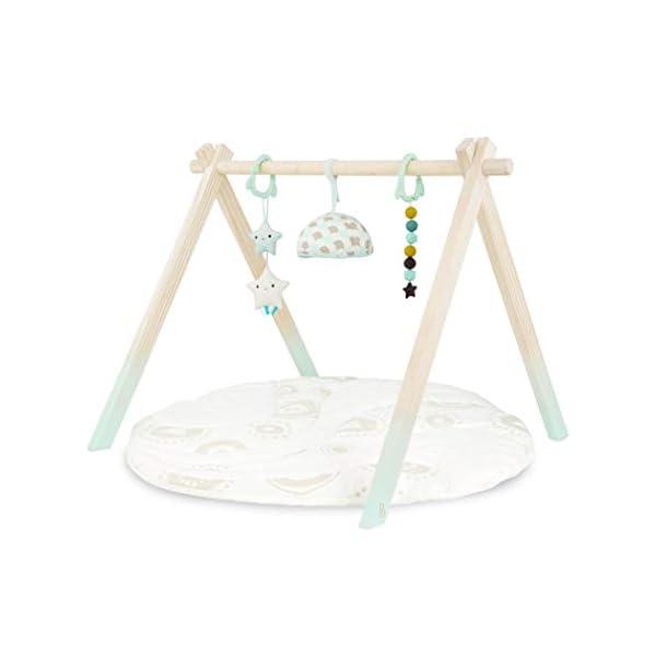 B. toys by Battat- Tapis d'éveil et de Jeu – Starry Sky – 3 Jouets sensoriels Qui suspendent – Coton Biologique – Bois Naturel – pour Les bébés et Enfants, BX1760C1Z, Menthe et Ivoire 1