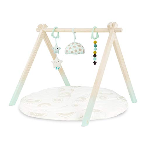 B. toys - Wooden Baby Play Gym - Activity Mat - Starry Sky - 3 Hanging Sensory Toys - Organic Cotton - Natural Wood - Babies, Infants