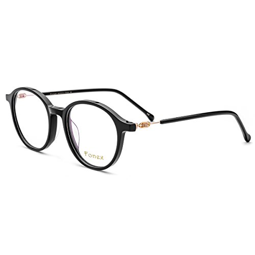 FONEX Prescription Eyeglasses Spectacles Myopia Optical Eyewear Frames Tb5202 (black, - Spectacles Mens
