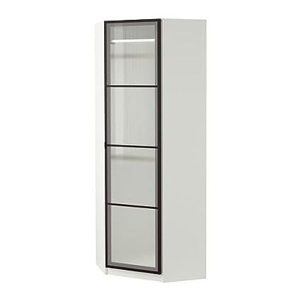 Amazon com: Ikea Corner wardrobe, white, Fevik frosted glass