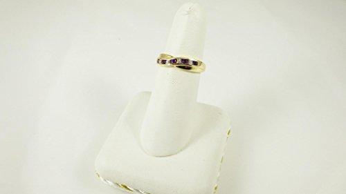 La Collection Bague Diamants : Bague Or 9ct avec l'Améthyste et set des diamants, un Bague Eternité, parfait pour cadeau ou Anniversaire, Taille 49,50,51,52,53,54,55,56,57,58,59,60,61,62,63,64,65