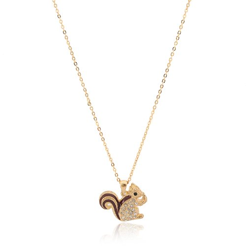 Cute Little Brown Tail Squirrel Necklace (Gold Plated)