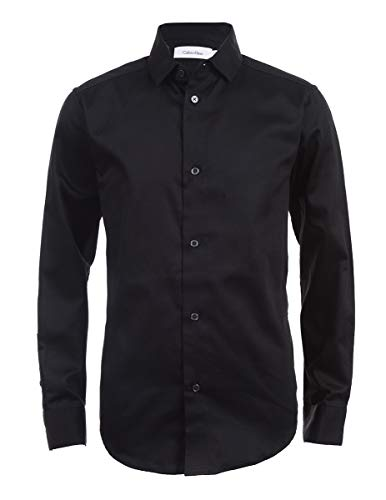 Calvin Klein Boys' Big Long Sleeve Sateen Dress Shirt, Black, ()