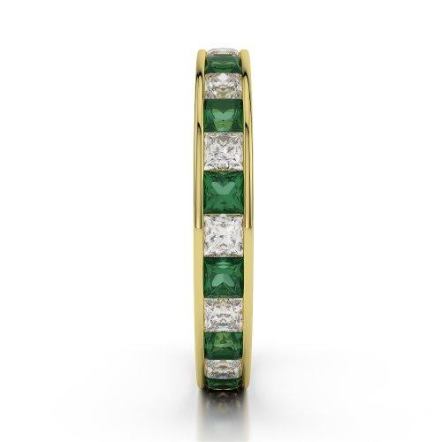 Or jaune 18carats 2ct G-H/VS sertie de diamants ronds découpé Émeraude et bague éternité Agdr-1133