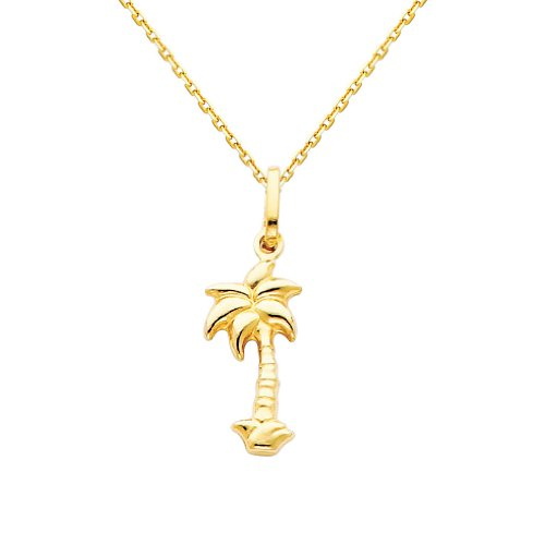 The World Jewelry Center 14k Yellow Gold Palm Tree Pendant with 0.9mm Cable Chain Necklace - 20