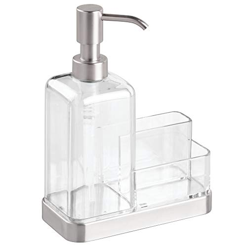 - InterDesign Forma Plastic Soap Pump with Caddy, Dispenser with Storage Compartment for Bathroom, Kitchen Countertops, Sinks, 6