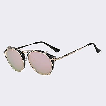 TIANLIANG04 Clip sur les Hommes Femmes Lunettes Steampunk Vintage Fashion marque Dessin Retour Lunettes Fashion Lunettes Oculos,UV400 noir avec lentille noire