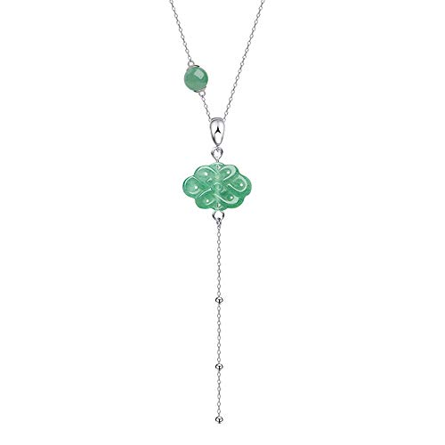 iSTONE Natural Gemstone Green Aventurine Chinese Knot Design Elegant Pendant Necklace with 925 Sliver Chain