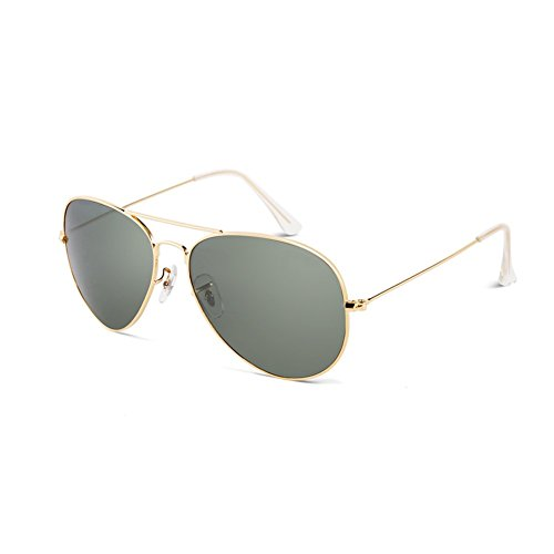 (LIZHIQIANG Polarized Glass Sunglasses, Men's And Women's Driver Glasses, Driving Driving Glasses, Pilot Glasses, Vintage Sunglasses (Color : Gold Frame/Ink Green))