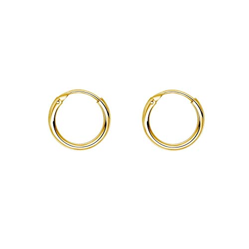 IminiJewelry Fashion Gold Plated Thin Endless Sterling Silver Small Hoop Earrings for Women Teen Girls Continuous Round Huggie Hoops Hypoallergenic 10mm 12mm 14mm 16mm 18mm 20mm (10mm)