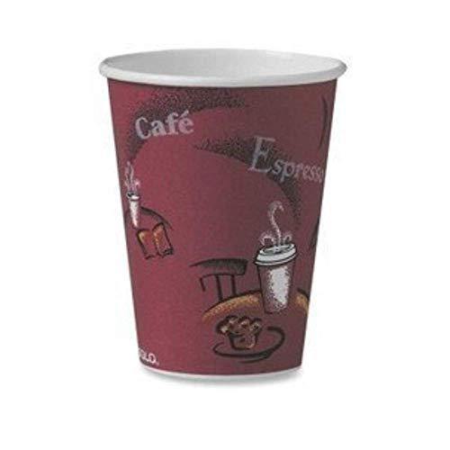 SOLO 412SIN-0041 Single-Sided Poly Paper Hot, 12 oz. Capacity, Bistro (100 Cups), Red (3 ()