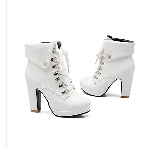 White 6 US White 6 US Women's Fashion Boots Synthetics Winter Boots Chunky Heel Closed Toe Mid-Calf Boots White Black   Dark Brown