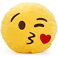 BodyInvestments EmojiVibes Emoji Smiley Thick Plush Pillow Round Cushion (Throwing Kiss)